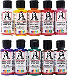 Monalisa Acrylic Paint Set 10 x 40 ml with Brush Set, Waterproof, Vibrant Colors for Painting on Wood, Stone and Canvas, f...