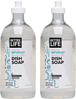 Better Life Natural Dish Soap, Unscented, 22 Ounces (Pack of 2)