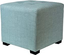 MJL Furniture Designs Merton Designer Square 4 Button Tufted Upholstered Ottoman, Sea Mist Green
