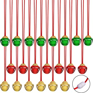 URATOT 24 Pieces Christmas Jingle Bell Necklaces Christmas Decoration Bell Necklaces with Connect Ribbons for Christmas Supplies (Red, Golden, Green)