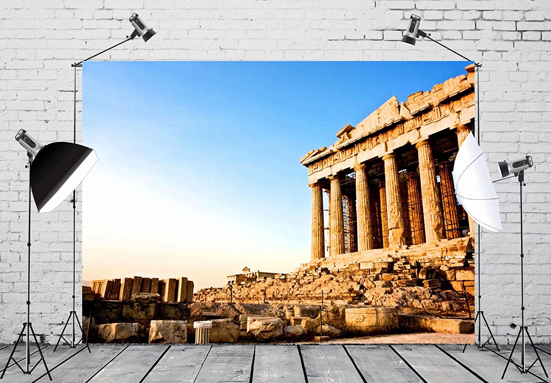 AOFOTO 5x7ft Greece Parthenon Backdrop Greek Columns Ancient Architecture Temple Heritage Acropolis Athens Photography Background Holiday Travel Adult Girl Boy Lovers Portrait Photo Studio Props Vinyl