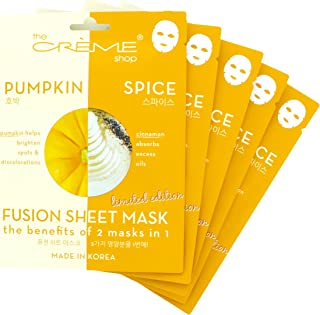 Fusion Face Mask Sheet - Pumpkin and Spice for Whitening Spots, Moisturizing, Cleansing, Soothing, Oil Control, Korean Skin Care and Skin Moisturizer - Organic & Natural Beauty Essence 5 Sheets Set