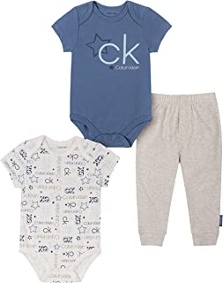 Calvin Klein Boys' 3 Pieces Bodysuit Pants Set