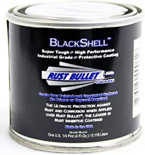 Rust Bullet BSQP BlackShell Rust Preventative and Protective Coating Paint, 1/4 Pint Metal Can, Gloss Black
