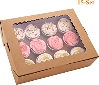 15-Set Cupcake Boxes Hold 12 Standard Cupcakes, Brown Cupcake Carrier, Cupcake Containers, Food Grade Kraft Cupcake Holders for Cookies, Bakeries, Muffins and Pastries