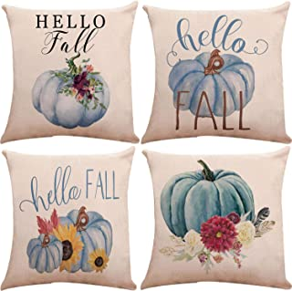 Munzong Set of 4 Hello Autumn Pumpkin Decorative Throw Pillow Covers Sofa Throw Cushion Cover for Thanksgiving Day Fall Harvest Home Decoration, Soft Cotton Blend Square Pillowcases 18 x 18 Inch