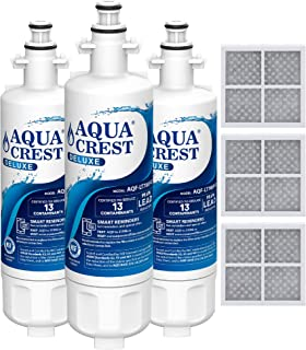 AQUACREST NSF 401, 53&42 ADQ36006101 Refrigerator Water Filter and Air Filter, Compatible with LG LT700P, Kenmore 9690, 46-9690, ADQ36006102 and LT120F (Pack of 3)