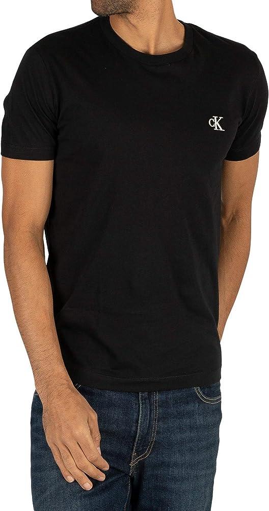 Calvin klein ck essential slim tee t-shirt, maglietta per uomo maniche corte, 100% cotone, nera J30J314544A
