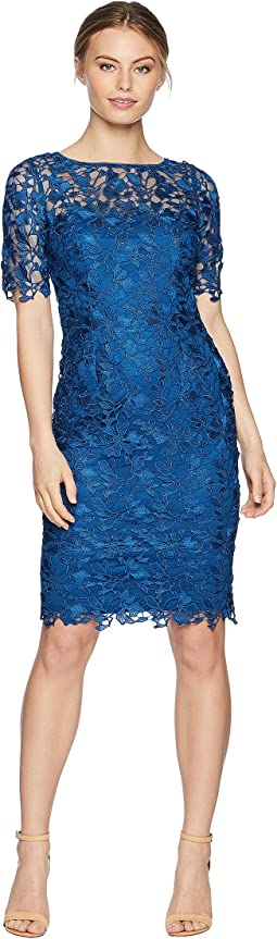 Adrianna Papell Petite Short Sleeve Lace Sheath Dress