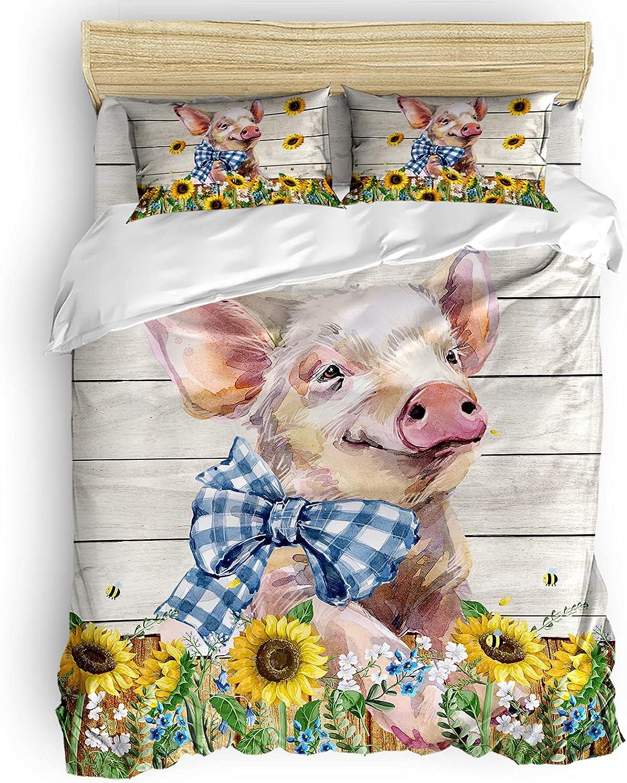 Regular discount Cute Pig Sunflowers Farm supreme Animal 4 Duvet Cover Vintage Piece Set
