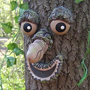 Bark Ghost Face Facial Features Decoration Easter Old Man Tree Hugger Tree Face Decor Outdoor Whimsical Sculpture Garden Peeker Easter Creative Props Yard Art Decoration Funny for Easter 2021 New (F)