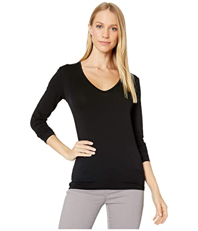 Majestic Filatures Long Sleeve Flat Edge V-Neck Tee (Noir) Women
