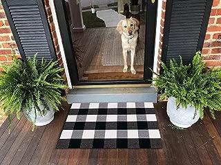 Ukeler Retro Farmhouse Doormat 2×3- Cotton Buffalo Plaid Rugs Tartan Checkered Layered Door Mats Outdoor Hand-Woven Washable Rag Throw Rugs for Front Porch/Kitchen/Sink/Bathroom/Entry Way