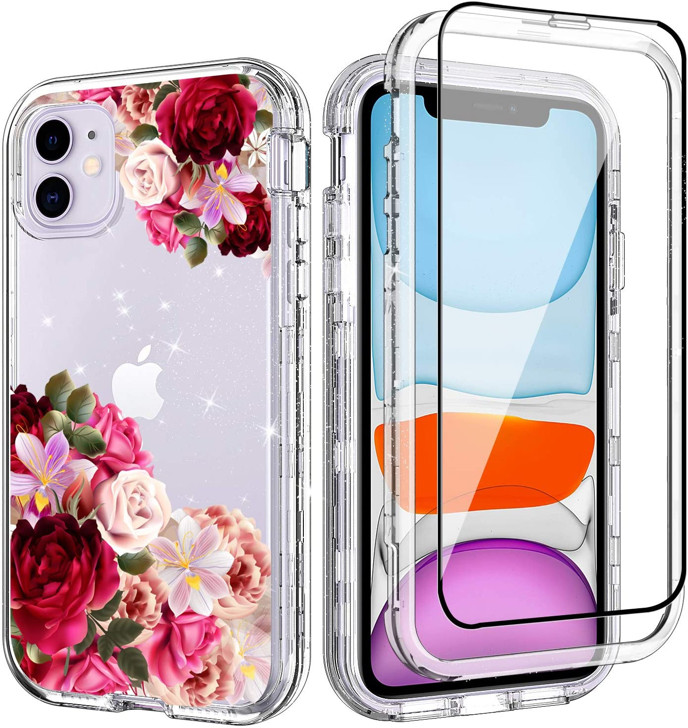 ACKETBOX iPhone 11 Case with Screen Protector 3in1 Hybrid Impact Defender Shockproof Armor Resistant Floral PC Back Case and Bumper+TPU Full Body Cover for iPhone 11 6.1 Inch(Flowers)
