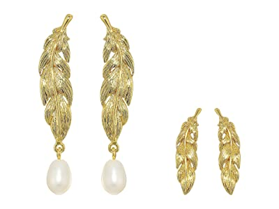 J.Crew Feather and Pearl Set (Pearl) Earring