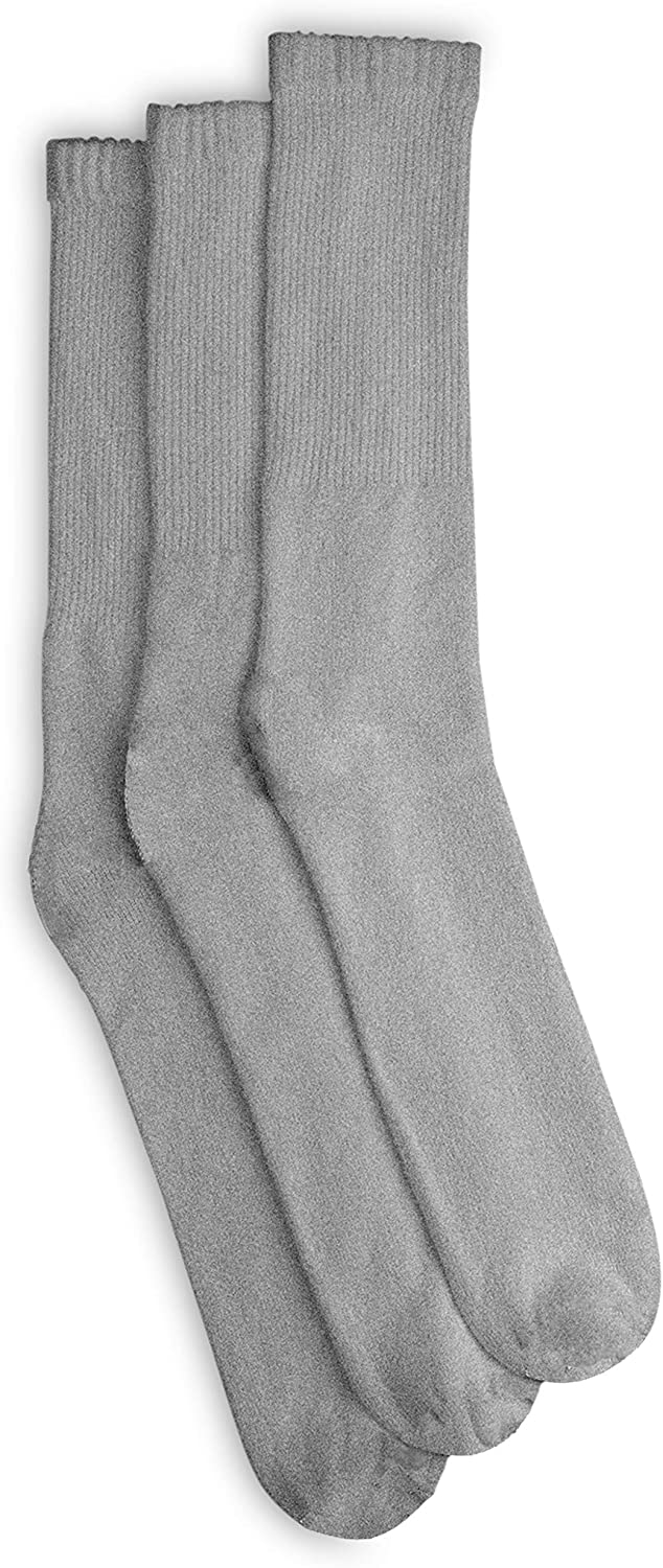 Harbor Bay by DXL Big and Tall Continuous Comfort Crew Socks, Grey, 13-16
