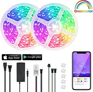 DreamColor LED Strip Lights - 32.8ft Bluetooth LED Chasing Light Strip with APP Control, Waterproof SMD 2811 RGB Color Changing Strip Lights led Strip Lighting for Home Kitchen Bedroom