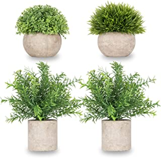 Meiliy Realistic Fakes Plants Rosemary Plant Mini Potted Artificial Plants in Gray Pot for Bathroom Home House Decor(Set of 4)