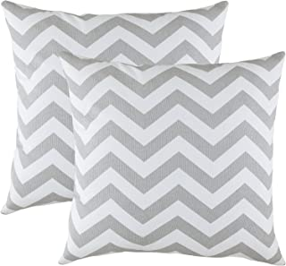 TreeWool Decorative Square Throw Pillowcases Set Chevron Accent 100% Cotton Cushion Cases Pillow Covers (16 x 16 Inches / 40 x 40 cm; Silver Grey & White) - Pack of 2