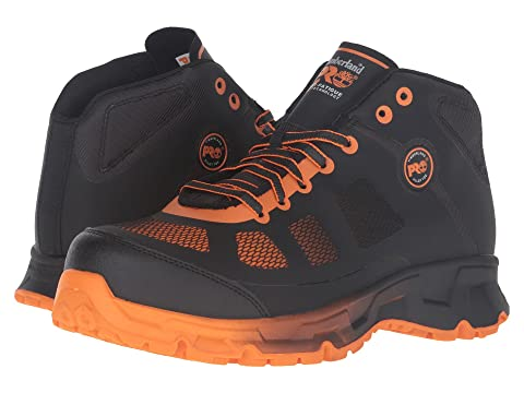 Timberland Pro Velocity Alloy Safety Toe Boot Mens Black Synthetic/Orange Pops 2 Q163570OM Boots