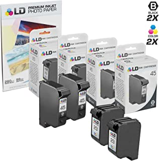LD Remanufactured Ink Cartridge Replacements for HP 45 & HP 23 (2 Black, 2 Tri-Color, 4-Pack)