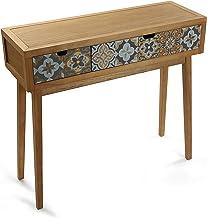 Mimma 21081049 Mesa Consola de Recibidor Alfama con 2 cajones, Madera, Gris y Marrón, 81,5 x 30 x 90 cm