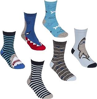 6 Pairs Shark Theme Cotton Rich Socks