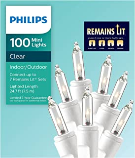Philips 100ct Remains Lit Mini String Lights (White Wire)- Clear