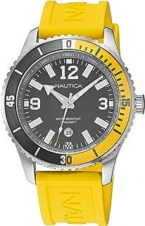 ساعة نوتيكا للرجال ستانلس ستيل كوارتز بسوار من السيليكون، اصفر، 22 كاجوال (NAPPBS162)
