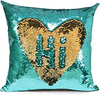 """URSKYTOUS Reversible Sequin Pillow Case Decorative Mermaid Pillow Cover Color Changing Cushion Throw Pillowcase 16"""" x 16"""",Turquoise and Gold"""