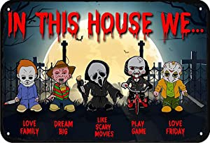 LINQWkk in This House we Horror Funny Metal Novelty Sign Metal Retro Wall Decor for Home,Street,Gate,Bars,Restaurants,Cafes,Store Pubs Sign Gift 12 X 8 INCH Metal Sign
