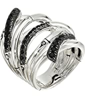 John Hardy - Bamboo Lava Extra Wide Ring with Black Sapphire