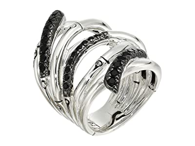 John Hardy Bamboo Lava Extra Wide Ring with Black Sapphire (Silver) Ring