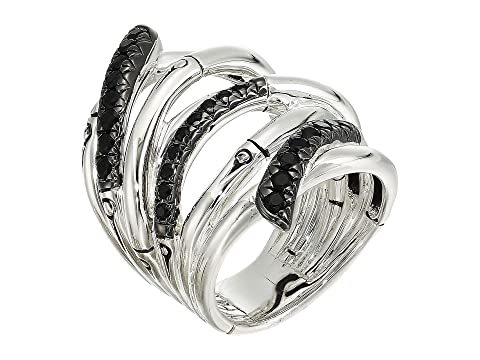 John Hardy Bamboo Lava Extra Wide Ring with Black Sapphire