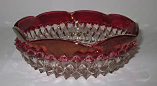 Diamond Point Ruby Flash Candy Trinket Dish By Indiana Glass Company