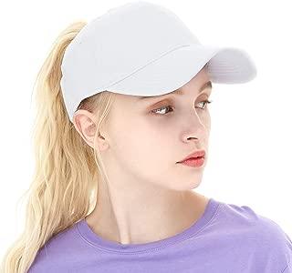 Ponytail Baseball Cap Plain Cotton Messy High Bun Hat for Women and Men