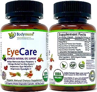Natural Organic Eye Care Supplement for Eye Floaters Dry Eyes Eyesight Eye Health - Synergistic Blend by Bodymune | 60 Day...