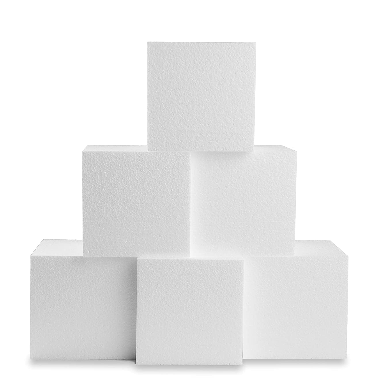 Silverlake Craft Foam Block - 6 Pack of 6x6x6 EPS Polystyrene Styrofoam Cubes for Crafting, Modeling, Art Projects and Floral Arrangements - Sculpting Block for DIY School & Home Art Projects (6)