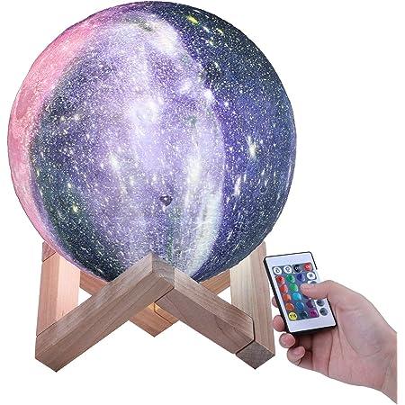 ENCOFT Lampe Lune 3D, Veilleuse LED Tactile USB Rechargeable Lune 20CM avec Support en Bois pour Chambre Salon Café Cadeau Anniversaire Noël