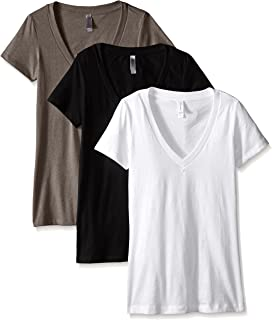 Clementine Apparel Women's Petite Plus Deep V Neck Tee...