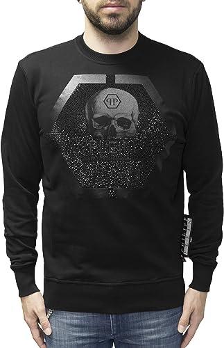 Philipp Plein LS Sweatshirt with Logo Skull Print and Rhinestones