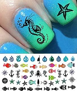 Nautical Nail Art Waterslide Decals Set #1 - Fish, Anchors, Seahorses - Salon Quality!