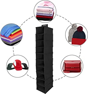 Storage Geek Hat Rack, Hat Organizer, or Cap Holder- Strong 10 Shelf Hanging Closet Hat Organizer for Hat Storage - Easy to Strap, Durable, Fit All Hats/Caps Holds 10+ Caps (Black)