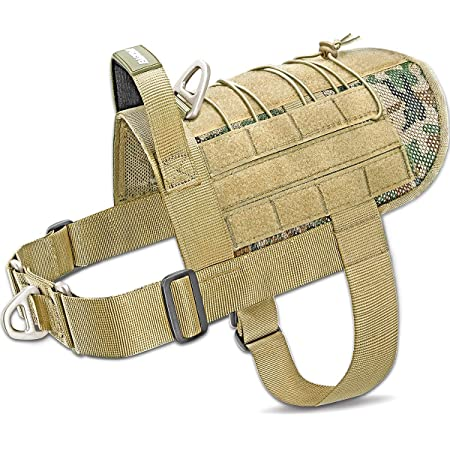 BARKBAY Tactical Dog Harness No-Pull Training Large with Handle,Military Service Dog Harness with Loop Panels Working Dog MOLLE Harness,Vest with Leash Clips for Walking Hiking Hunting