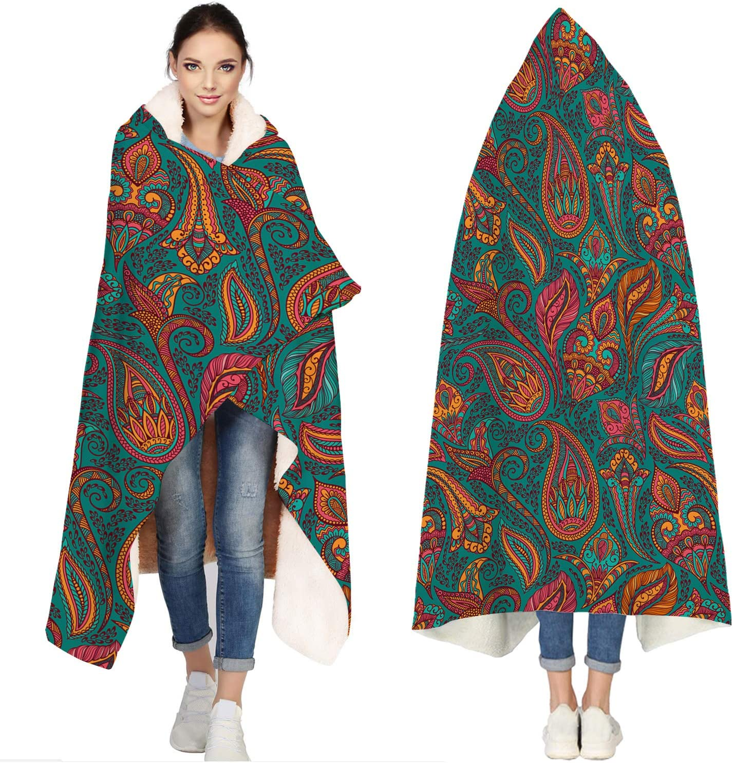 Seven Roses Hooded Blankets for Indian Adults Patte Traditional Price reduction 67% OFF of fixed price