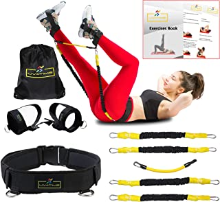 UVATIME Resistance Bands with Booty Adjustable Belt, Exercise Bands for Legs and Butt, Adjustable Ankle Bands, Vertical Jump Trainer, 2 Adaptable Levels of Resistance, Backpack