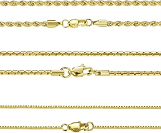 3 PCS 18K Gold Plated Stainless Steel Chain Necklace for Men Women 1-3MM Box&Rope Chain High-Polish Finished 16-30 Inches