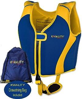KWALITY Chaleco Ayuda Neopreno de natación para niños, Chaleco Flotador Unisex,con Exclusiva Adjustable Correa de Seguridad, flotabilidad Fija,Incluye Bolsa de Transporte con cordón/Bolsa Seca.