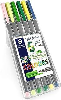 Staedtler Triplus Fineliner Pens - 0.3mm - Dry Safe - Botanical Colours - Wallet of 6