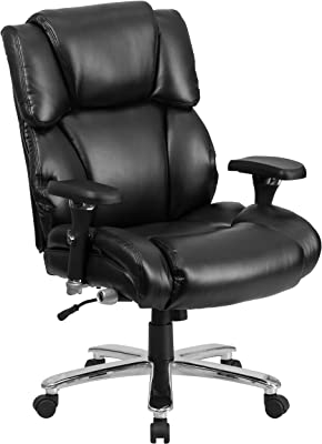 Amazon Com Amazon Basics Padded Ergonomic Adjustable Swivel Office Desk Chair With Armrest Black Bonded Leather Furniture Decor